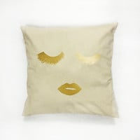 Makeup Pillow, Fashion Pillow, Makeup, Home Decor, Cushion Cover, Throw Pillow, Bedroom Decor, Bed Pillow, Gold Pillow, Decorative Pillow