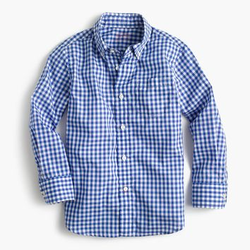 Kids' Secret Wash shirt in blue gingham