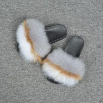 Women Real Fox Fur Fashion Flat Slipper Indoor Ourdoor Spring Summer Shoes96021A