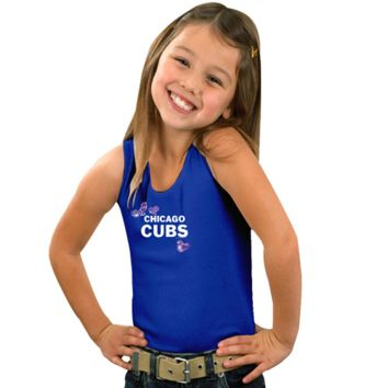 Chicago Cubs Youth Pretty in Pink Sparkles with Sequins Tank Top - Royal Blue - http://www.shareasale.com/m-pr.cfm?merchantID=7124&userID=1042934&productID=525380244 / Chicago Cubs
