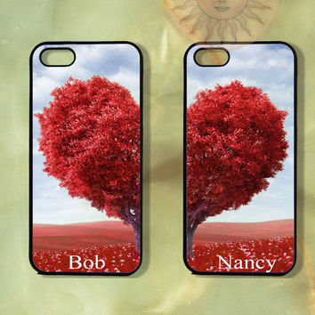 Custom Heart Tree Couple Case-iPhone 5, iphone 4s, iphone 4 case, Samsung GS3-Silicone Rubber or Hard Plastic Case, Phone cover