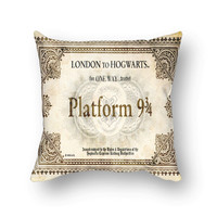 Hogwarts Ticket Harry Potter Throw Pillow Cover