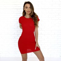 Stud Bodycon Dress in Red