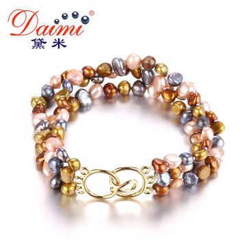 [daimi] multi color 3 strand bracelet , 4 5mm irregular small pearl  beach style 2 color can choose