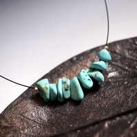 Turquoise Choker - December Birthstone - Turquoise Chips Bar Necklace, Throat Ch