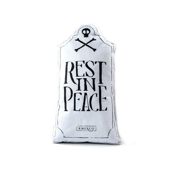 PRE ORDER Rest In Peace - Grey Edition- Handmade Plush Throw Pillow - Horror Inspired Home Decor