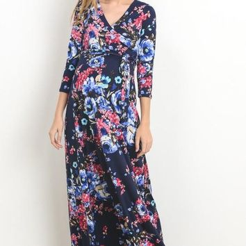 """Sienna"" Navy Floral Maternity/Nursing Wrap Maxi Dress"