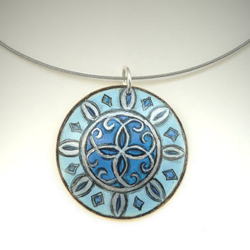 Jewelry Wood - Aqua Blue Pendant  - Modern Oriental Pattern Necklace  - Hand Painted Jewelry
