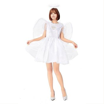 Women White Angel Cosplay Costumes Halloween Carnival Stage Play Masquerade Nightclub Party Dress