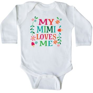 My Mimi Loves Me Girls Outfit Long Sleeve Creeper White $16.99 www.personalizedfamilytshirts.com