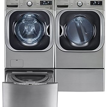 "LG TwinWash Graphite Steel Front Load Laundry Pair with WM8000HVA 29"" Washer, DLEX8000V 29"" Electric Dryer, WD200CV 29"" SideKick Pedestal Washer and WDP5V 29"" Laundry Pedestal"