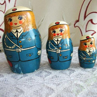 Matryoshka Nesting Dolls - Set Of 4. Traditional Russian wooden doll. Made in UssR 1970s