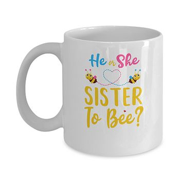 Gender Reveal Pink Or Blue What Will It Bee He Or She Sister Mug
