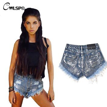 CWLSP 2017 Punk Wind Women Shorts Tassel Rivet High Waist Jeans Fashion Hot Silver Blue Woman Denim Shorts QL2987