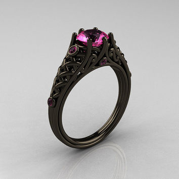 Classic 14K Black Gold 1.0 Carat Pink Sapphire Designer Lace Ring R175-14KBGDBD