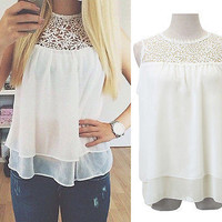 Women Sexy Summer Sexy Chiffon Lace Crochet Vest Tank Top Shirt Blouse Outfit
