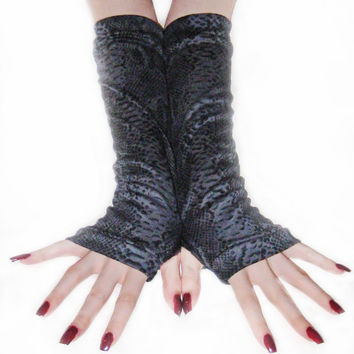 Snake Eyes - arm warmers Gray and Black snake dragon print  fingerless gloves gothic punk costume cotton jersey knit rayon fabric steampunk