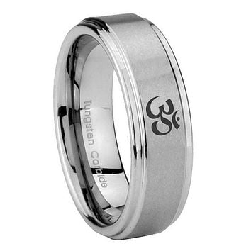 8MM Ohm Design Om Yoga Step Edges Silver Tungsten Carbide Laser Engraved Ring