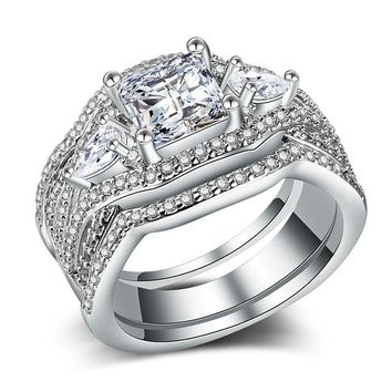 3PC Wedding Band Marquise Cut Cubic Zirconia Silver Plated Couple Band Ring