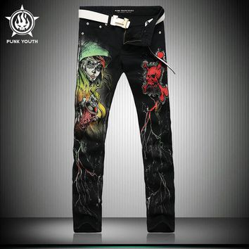 Skull Printed Jeans Slim Fit Colored Drawing Casual Print Denim Pants Black Long Trousers Free Shipping