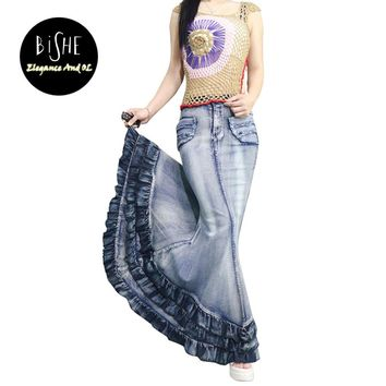 BiSHE New Fashion Long Denim Skirt High Waist Gradient Tassel Jeans Skirts Trumpet Cool Fish Tail Mermaid Bohemian Maxi Skirts