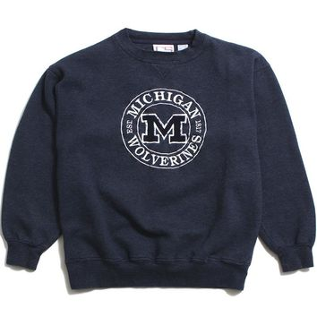 University of Michigan Embroidered Circle Felt M Crable Sportswear Crewneck Sweatshirt Heather Navy (Medium)
