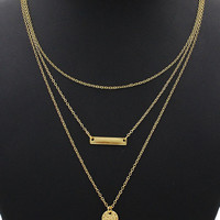 Coin And Bar Pendant Multirow Charm Necklace -03322