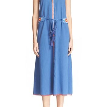 Tory Burch 'Savannah' Cotton & Linen Midi Dress | Nordstrom