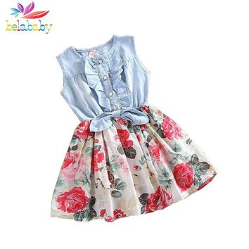 Baby Girl Dress  Summer Children Sleeveless Denim Floral Dresses With Button Kids Princess Summer Dresses For Girls