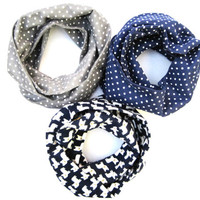 Toddler Scarf Set 3 Flannel Scarves Grey PolkaDot Scarf Blue Polka Dot Scarf Frenchie Dog Scarf Child Infinity Scarf Gift Idea Ready to Ship