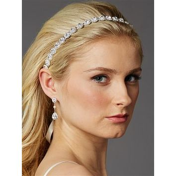 Silver Rhodium Bridal Headband with Crystal Flowers and Split Hair Band