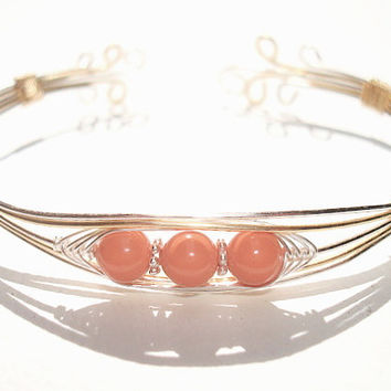Two tone coral bracelet - Swarovski pearl - wire wrapped bracelet - Peas in a Pod Jewelry - cuff bracelet - bangle