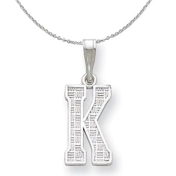 Sterling Silver, Sami Collection, Textured Block Initial K Necklace