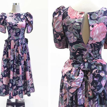 Laura Ashley Dress - Vintage 1980's Dress - Floral Gown With Accent Bow