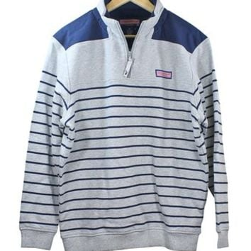 Vineyard Vines Mens Race Stripe Shep Shirt Pullover Light Heather Apparel