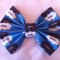 The Fault in Our Stars Inspired Medium Sized Hair Bow, John Green, TFIOS, Hazel Grace, Augustus Waters, Okay, Nerdfighter, Nerdfighteria