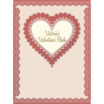 Custom Valentine's Day Red Heart Celebration Event Party Backdrop (ANY TEXT/COLOR) - C0213