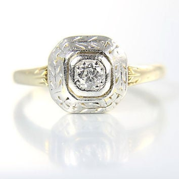 Antique Edwardian Engagement Ring. 14K Solid Gold Art Deco Diamond Ring size 5.5