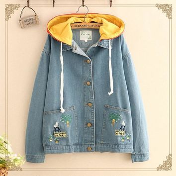 Casual Womens Hooded Jean Jackets Tops Cartoon Embroidery Female Ladies Basic Bomber Denim Jacket T513