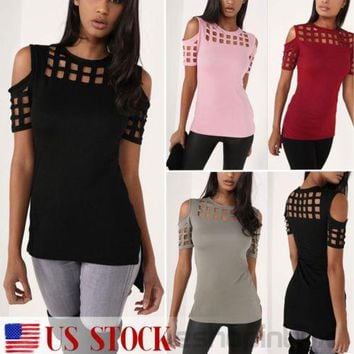 US Women Cold Shoulder Caged T Shirt Summer Short Sleeve Casual Tops Blouse Tee