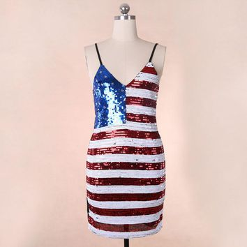 Slim Stripe Sequin American Flag Bodycon Dress