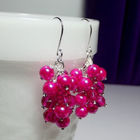 ON SALE thru 11-11 Fuchsia Pink Pearl and Crystal Earrings, Christmas Gifts Mom Sister, Cluster Chunky Earrings, Modern Romantic