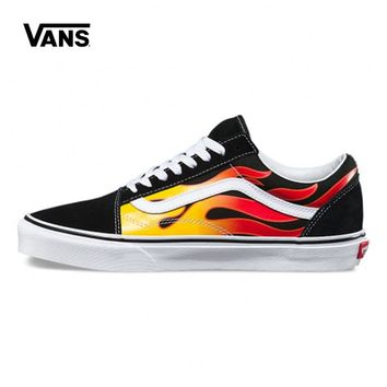 Original Vans Unisex Men's Classic Rock Flames Old Skool Skateboard Shoes Women's Sneakers Couples Skateboarding Shoes
