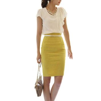 Women OL Slim Fitted Knee Length Pencil Skirt High Waist Straight Multi-color New