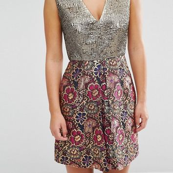 ASOS PETITE A-line Mini Dress in Mixed Floral Metallic Jacquard at asos.com