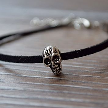 Mens leather bracelet Skull pandora