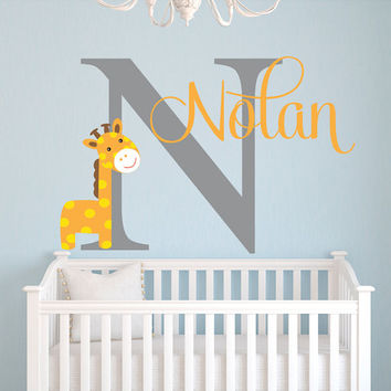 Name Wall Decal - Giraffe Wall Decal - Giraffe Baby Boy Room Decor - Safari Wall Decal - Nursery Wall Decal