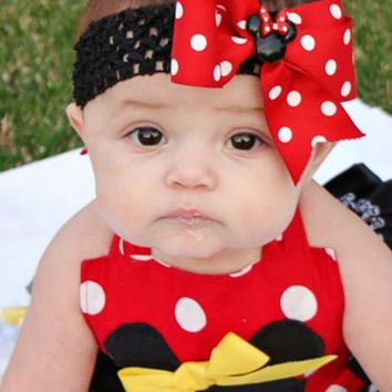 Minnie Mouse Hairbow, Girls Red or Pink Polka Dot Minnie Mouse Headband, Minnie Mouse Birthday, Disney Trip
