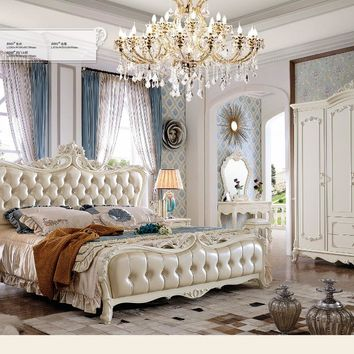 2017 bedroom set and living room furniture FREE SHIPPING delivery to MOSCOW king size bed,dresser,wardrobewith leather sofa
