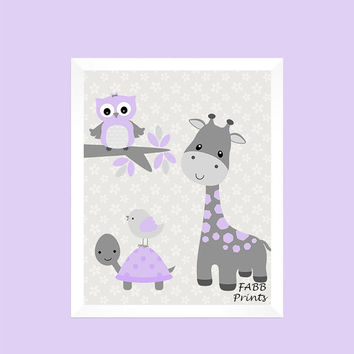 Gray and Lavender Giraffe Owl Turtle Bird, Baby Nursery, CUSTOMIZE YOUR COLORS, 8x10 Prints, nursery decor nursery print art baby room decor